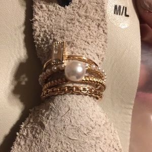 Urban Outfitters Faux Pearl Gold Tone Ring Set